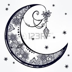 Intricate hand drawn ornate crescent moon with feathers gemstones Isolated Vector illustration Tatto Stock Vector