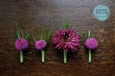 Smaller dahlia for groomsmen and larger dahlia for groom. In coral though, and wrapped in twine.