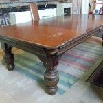 8ft Antique snooker dining Table by Orme shown before restoration.| Browns Antiques Billiards and Interiors.