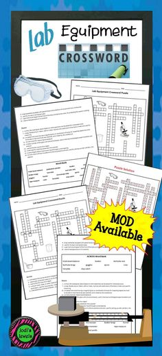 This Lab Equipment Crossword Puzzle is great for upper elementary and middle school science classrooms. Introductory terms and definitions of lab equipment are included.