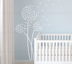 Dragonfly Dandelion Wall Decal Custom Nursery door InAnInstantArt
