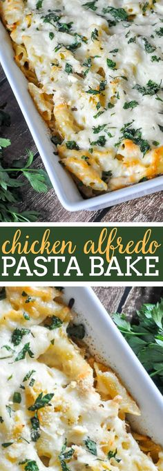 Creamy Chicken Alfredo Pasta Bake - The whole family will love this tasty and easy casserole recipe. Made with a lighter homemade Alfredo Sauce that makes the best comfort food dinner. | The Love Nerds #pastabake #chickenalfredo #alfredopasta #easydinner via @lovenerdmaggie