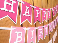Custom Pink Ombre Banner, Banner, Birthday Banner, Happy Birthday Banner…