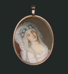 Artist: P. R. Vallée Title: Harriet Mackie (The Dead Bride) (1788-1804) Date of object: 1804 Medium: Watercolor and graphite pencil on ivory Dimensions: 3 3/16 x 2 3/16 in. (8.1 x 5.6 cm.), framed. Legend has it Miss Mackie, who died days before her wedding, was poisoned by rival heirs to her father's will! DW