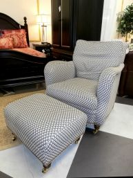 Price: $549.99 Item #: 136378 Lawson style armchair from Hickory Chairs come in a contemporary blue and white pattern, rolled arms, and a matching ottoman. This set is on coasters making it practical, comfortable and stylish. The size of this chair and ottoman are 32 * 29 * 35.
