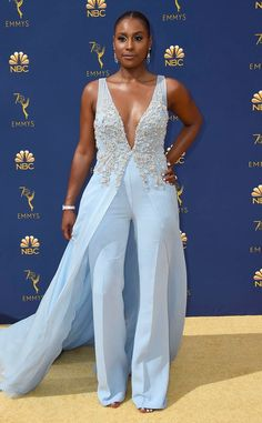 Issa rae from best dressed stars at the emmy awards 2018 the star's vera wang ensemble combines the silhouettes of a jumpsuit and gown for an epic overall look. Look Fashion, Fashion Outfits, Issa Rae, Red Carpet Looks, Red Carpet Fashion, The Dress, Blue Dresses, Marie, Celebrity Style