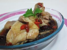 PinkyPiggu: {Recipe} Steamed Drumsticks in Essence of Chicken, Not bad, I use donggui essence of chicken. Next try must put 2 bottle and add more salt Gourmet Chicken, Steamed Chicken, Chicken Recipes, Recipe Chicken, Asian Recipes, Healthy Recipes, Fast Recipes, Chinese Recipes, Three Cup Chicken