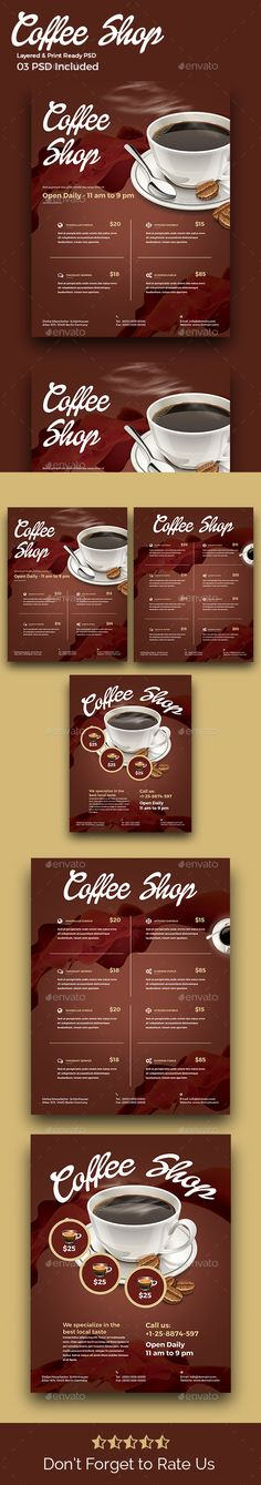 Trifold Brochure - Coffee Menu Coffee menu, Coffee poster and - coffee shop brochure template