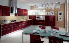 Tips for Italian Kitchen Design and Decor Country Kitchen, New Kitchen, Kitchen Layout, White Laminate Flooring, Red Kitchen Cabinets, Glass Top Dining Table, Kitchen Installation, Built In Ovens, Modern Kitchen Design