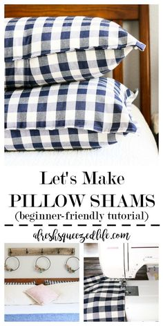 Pillow Shams are a great way to perk up your Shabby Chic/Farmhouse look! DIY a set for your bedroom using my pattern and ideas. HOW TO MAKE PILLOW SHAMS