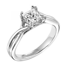 """Solitude"" princess-cut solitaire engagement ring with twisted shank"