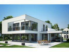 Ein modernes Einfamilienhaus mit einem Flachdach. Eine besonderes…