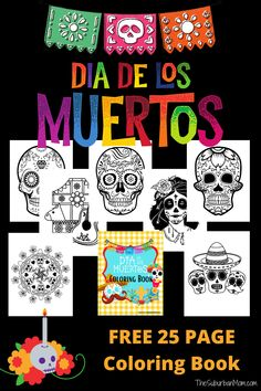 Día de los Muertos coloring pages free printable - beautiful sugar skulls and skeletons to color. History of the Day of the Dead with a 25-page coloring book. Plus movie and book recemendations for kids. Halloween Crafts For Kids, Holidays Halloween, Halloween Fun, Kids Activities At Home, Party Activities, Coloring Books, Coloring Pages, Menu Planners, Sugar Skulls