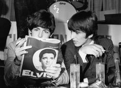 Paul and George havin' a smoke and reading about Elvis