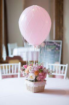 Hot Air Balloon Floral Centerpiece of Garden Rose, Stock, Peony and Ranunculus