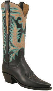 Ladies Lucchese Classics Black Calf Custom Hand-Made Western Boots L4648