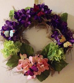 Hydrangea Spring Wreath burlap wreath home decor by BelleMistique