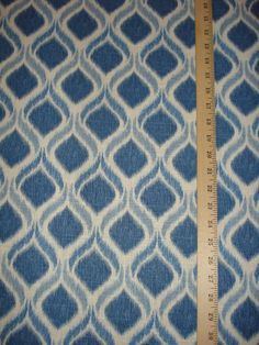 Mill Creek Giorgio Atlantic Indigo Blue Ogee Trellis Ikat Print Fabric .86 Yd #SwavelleMillCreek