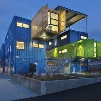 Colorful Box Office Constructed from 12 Shipping Containers in Rhode Island // É disso que eu tô falando!