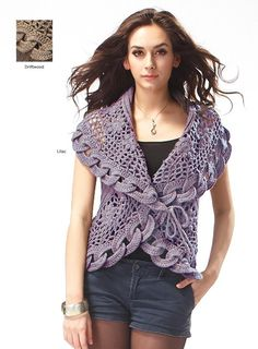 Cute #crochet bolero worked in round with interlocking rings as a design feature.