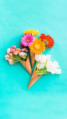 Bunch of Floral Ice Cream Cones