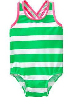 Striped Cross-Back Swimsuits for Baby Baby Girl Swimsuit, Girl Outfits, Cute Outfits, Maternity Wear, Toddler Fashion, Old Navy, Swimsuits, One Piece, Man Shop