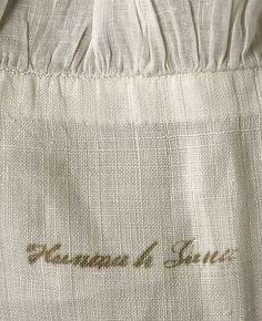 Chemise 1780s, American. Linen, cotton.