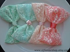 lace bow lace hair bow barrette adult teens girls big bow bridesmaid hair accessories mint green seafoam green peach pink coral pink