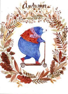 Blueberry bear on Behance Bear Illustration, Love Bear, Bear Art, Book Cover Art, Autumn Art, Floral Illustrations, Handmade Design, Illustrators, Fantasy Art