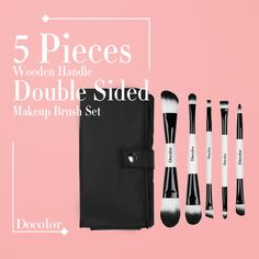 Docolor(TM) 5Pieces Wooden Handle Double Sided Makeup Brush Set Foundation Eyeshadow Make Up Kit Tools with Travel Pouch Case