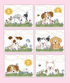 Puppy Dog Wall Art Prints Baby Girl Nursery Childrens Kids Room Decor Gift for sale online Puppy Nursery, Baby Girl Nursery Decor, Nursery Prints, Nursery Art, Wall Art Prints, Baby Wall Art, Boy Dog, Illustrations, Puppies