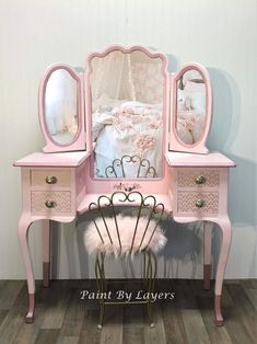 Girls Pink Vanity with Trifold Mirror and Chair image 0 Pink Dressing Tables, Dressing Table With Chair, Vintage Dressing Tables, Dressing Table Vanity, Pink Vanity, Painted Vanity, Vanity Set, My Furniture, Furniture Makeover
