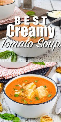 Soup recipes 95912667052123306 - The Best Creamy Tomato Soup can be made with just 5 ingredients. Delicious and easy soup recipe that can be made in under 30 minutes. Quick Soup Recipes, Tomato Soup Recipes, Chicken Soup Recipes, Cooking Recipes, Healthy Recipes, Keto Recipes, Vitamix Soup Recipes, Keto Desserts, Healthy Fats