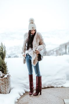 sundance film festival, utah, fur jacket, beanie, knit hat, winter style, winter outfit, casual outfit, tory burch boots, rach parcell, rachel, pink peonies