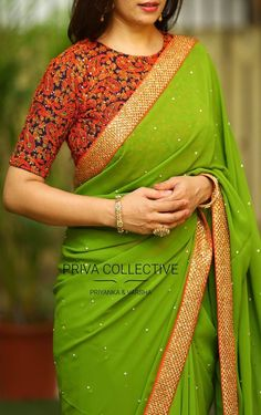 PV 3488 : Green Price : 4850 Look picture perfect in this simple yet elegant green stone studded sari finished with stone studded border Unstitched blouse piece - Blue rich thread work and sequin embroidered blouse piece as shown in the picture For Order Pattu Saree Blouse Designs, Saree Blouse Patterns, Fancy Blouse Designs, Designer Blouse Patterns, Sari Blouse, Jute, Anarkali, Lehenga, Churidar