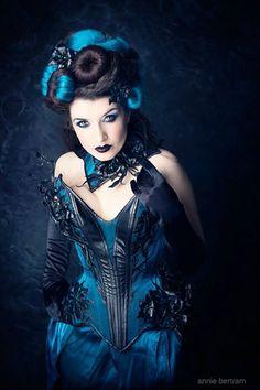 "dmonikhel: ""Photo: Annie Bertram Couture: Royal Black Couture & Corsetry Model, hair & make-up: La Esmeralda "" Dark Costumes, Burlesque Costumes, Dark Fashion, Gothic Fashion, Vintage Fashion, Steampunk Fashion, Hot Goth Girls, Gothic Girls, Gothic Art"