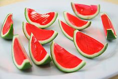 Watermelon Jello Shots - Going to have to give these a shot later (Pun not intended)