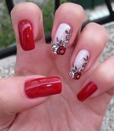 Red & White Nails, red & black flowers, flower free-hand nail art