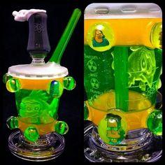 Green Slim Toxic Simpsons Bubbler ~ #simpsonsglasspipe