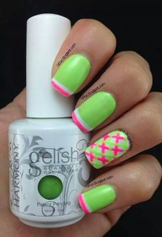 Bright green nails with double french tips in pink and white, plus a crosshatch accent