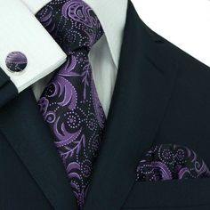 Amazon.com: Landisun 309 Dark Purple Black Paisleys Mens Silk Tie Set: Tie+Hanky+Cufflinks: Clothing