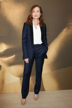 """Isabelle Huppert attended Kering's """"Women in Motion"""" Talk in Cannes, wearing a Stella McCartney tailored tuxedo look from our #Summer15 collection.  Photo courtesy of Getty Images."""