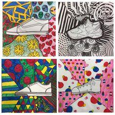 Finished product! #artroom #middleschool #kidart #contourdrawing #kicks #shoes #artteachersofinstagram #drawing