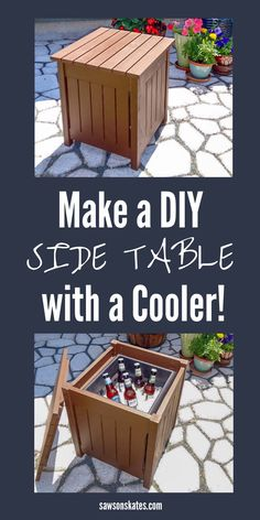 DIY Outdoor Side Table with Cooler (Free Plans!) is part of diy-home-decor - Build your own DIY Outdoor Side Table with these free plans! This simple table is made with wood and features a small cooler for chilling drinks Outdoor Furniture Plans, Diy Furniture Projects, Woodworking Furniture, Diy Wood Projects, Outdoor Projects, Diy Woodworking, Table Furniture, Diy Furniture Easy, Backyard Furniture