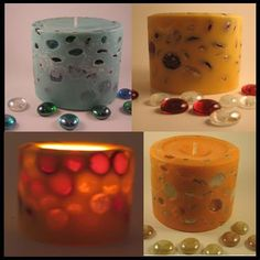DIY glass marble candle  Put a candle into a larger mold  Pour glass marbles around the candle then pour in wax and let harden. Remove candle with embedded marbles, use blow torch to melt outside of candle to expose marbles  Can do the same thing with small pebbles