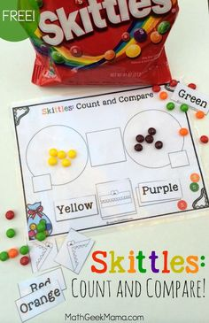 This fun and free Skittles Math printable pack is a great way to help kids practice counting as well as comparing numbers! Three different ways to use it, depending on the age of your kids! Numbers Kindergarten, Kindergarten Math Activities, Math Numbers, Preschool Math, Math Classroom, Math Resources, Teaching Math, Math Math, Kids Math