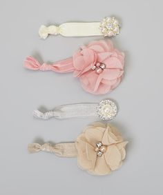 Take a look at this Mauve Rhinestone Flower Hair Tie Set on zulily today!