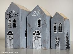 Ideas and Inspirations: Holzhäuser * woodenhouses Scrap Wood Crafts, Wood Block Crafts, Wooden Crafts, Diy Wood Projects, Wood Blocks, Small Wooden House, Wooden Houses, Driftwood Art, Wooden Wall Art