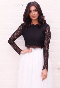 6f2622883928f Eyelash Lace Long Sleeve Scoop Back Crop Top in Black