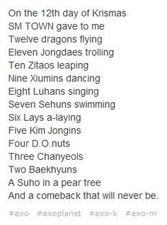 The 12 Days of EXO xD This is AWESOME hahaha! (cr: bubbleteaduizhang on tumblr)